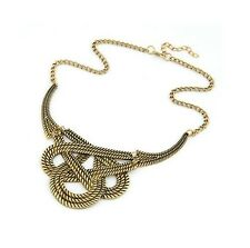 Gold Vintage Weave Woven Rope Tribal Statement Costume Jewellery Necklace
