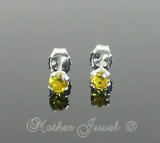 3mm Real Solid 925 STERLING SILVER Citrine Yellow CZ Earrings Unisex Girls Studs