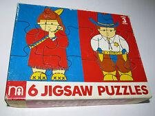 6 Mothercare Jigsaw Puzzles/1980s/Vintage/EMPLOI/Cowboy/infirmière/POLICE/jouets/jeux/rétro