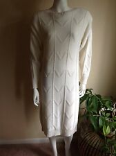 "DE ROTCHILD Vintage Ivory Wool Blend Knit ""V"" Detail Sweater Dress size M"