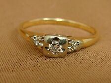 Vintage 1930s 14K YG Diamond Engagement Ring - Size 8