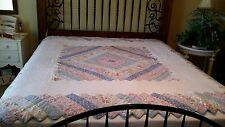 "VTG Handmade & Hand Quilted Blue Floral Patchwork Quilt Zig Zag Edges 84""x84""."