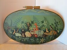 """Original  Acrylic Painting Animals Canvas in hoop frame 1987 Signed 27""""W VINTAGE"""
