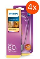 4er Pack PHILIPS LED Classic E27 ST64 8.5W 2200-2700K dimmbar WarmGlow wie 60W