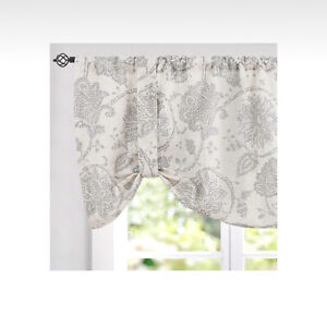 1PC VALANCE SWAG TOPPER-SHUBBY SOFT GREY AND BEIGE FABRIC WINDOW RUFFLE GYPSY