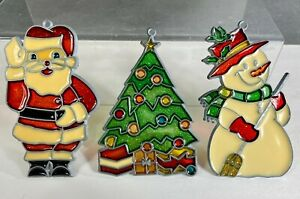 Vintage Stained Glass Suncatcher Christmas Ornaments Holiday Santa Tree Snowman