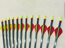 "12PCS Carbon Arrows SP340 30"" 2"" Vanes Ring Nocks Compound Recurve Bow Hunting"