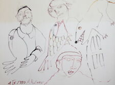 Abstract watercolor drawing figures signed