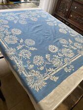 Vintage Blue Floral Tablecloth Kitchen Linens 46� X 48� Beautiful