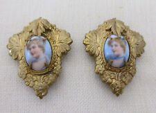 Portraits Dress Clips,Gold Gilt,Art Nouveau Rare Antique Hand Painted Miniature