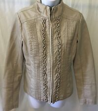 Big Chill Vintage Women's Jacket SizeS Tan Long sleeve ZipUp Quality Outerwear R