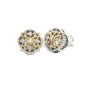 Andrea Candela 18k Gold Sterling Silver Diamond Vintage Cable Earrings ACE377/06