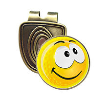 YELLOW SMILEY HAPPY FUSION CAP CLIP & MAGNETIC GOLF BALL MARKER IN BRONZE