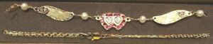 New 14kt Yellow Gold RUBY w/4 Dia Hearts Winged Anklet-Free Shipping!