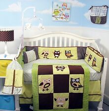 BOY GIRL CRIB BEDDING SET HOOT OWL FAMILY Infant Baby Nursery 13 Pc Quilt Sheet+