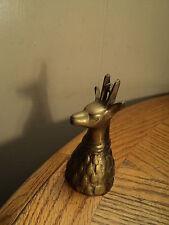 """Vintage Reindeer Head Brass Bell Tool  -  3-3/4"""""""