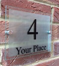 MODERN HOUSE SIGN PLAQUE DOOR NUMBER STREET GLASS ACRYLIC SILVER