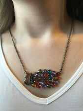 Vintage Brass & Multicolor Rhinestone Peacock Pendant Necklace Fashion Jewelry