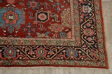 Pre-1900 Antique All-Over Heriz Serapi Area Rug Vegetable Dye Hand-Knotted 8x12