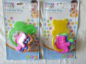 BPA FREE Fun Key Ring Rattle Teether Baby Boy Girl Rattles Toy 6+ month Teething