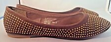 Brown Back to School Flats with Gold Beading  Girls Size 3
