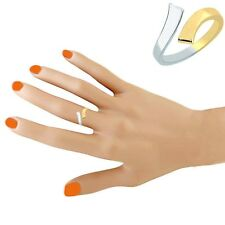 10k Yellow White Two Tone Gold Crossover Adjustable Ring or Toe Ring