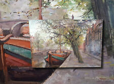 In the canals of Amsterdam. wonderfully atmospheric Old Oil Painting Signed