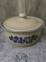 PFALTZGRAFF CASSEROLE 2 QT Baking Dish and Lid FOLK ART Tan Blue vintage EUC