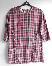New women's gingham tunic style shirt - front pocket & fringe feature Tu size 10