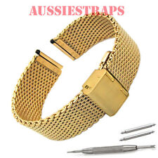 20mm PVD GOLD SHARK WIRE MESH BRACELET WATCH BAND Strap for Seiko and Casio