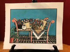 Kitty in the Garden Room Colored pencil drawing print D. L. Sites 2001 #22/2000