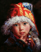 ZOPT1070 handmade painted tibet little baby portrait oil painting art on canvas