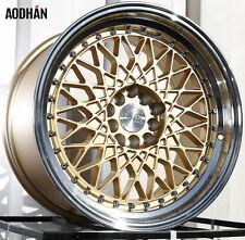 AODHAN AH05 17x9 5x100 / 5x114.3 +25 Gold Machined Lip (PAIR) wheels