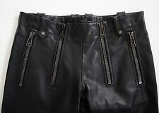 $2495 Authentic BELSTAFF Black Leather MOTO Riding Pants Trousers 38 W-28""