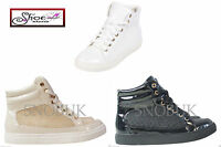 New Womens Ladies Hi top Trainers Pumps Ankle Shoes Flats Lace Up Sneakers Size