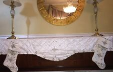 NWT Kim Seybert Fireplace White Beaded CHRISTMAS HOLIDAY Mantel Scarf 24x84""