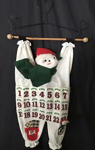"Felt Advent Calendar Snowman 3 Dimensional Hanging Wire Hearts Wood Dowel 24x12"""