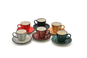6 Espressotassen Bunt Keramik Espresso Mokka Cups Tassen Untertassen 70ml Set