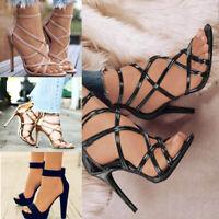 Plus Size Ladies Women Wild Simple High Heel Platform Flat Ankle Shoes Sandal