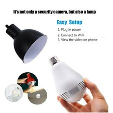 Hidden Camera Wifi Light Bulb 360-Degree Fisheye Hd 1080p Wireless Spy Cam New