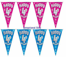 Eleganza Pink Blue Holographic Foil Birthday Banner Bunting Balloon Age 1 - 80.