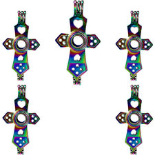 (5pcs Pack) Multi Color Cross Locket Beads Pearl Cage Pendant  //C197