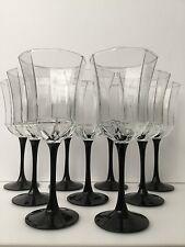 SET OF 9 UNUSED VINTAGE FRENCH CRYSTAL FLUTED GLASS GOBLETS SOLID BLACK STEMS