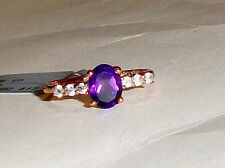 10K Rose Gold Purple Amethyst Oval Solitaire & W Zircon Ring, Size 8, 1.49(TCW)