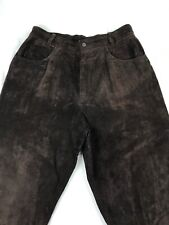 DANIER Women's Brown GENUINE SUEDE LEATHER Straight Leg Pants Size 14