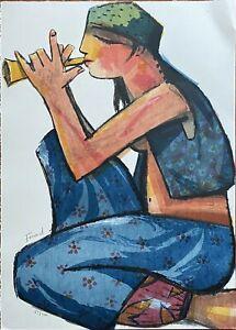 Fuad Aziz litografia su pietra  Musicista 70x50 firmata numerata 89/100