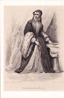 Portrait XIXe Catherine de Médicis Caterina de' Medici Firenze Reine de France
