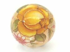 two transparent crystal with yellow flower Japanese round tensha beads - 14mm