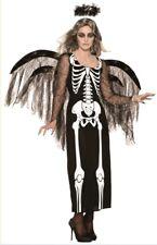 Angel of Death Halloween Costume Womens Evil Black Fancy Dress Skeleton Bones