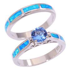 Blue Fire Opal Blue Topaz Silver Women Jewelry Gemstone Ring Size 7 8 9 OJ9148